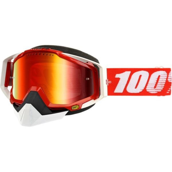 100 la suta OCHELARI RED SNOW RACECRAFT W/ MIRROR RED LENS