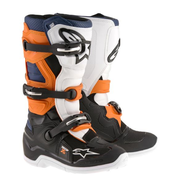 Alpinestars Cizme Tech 7S Black/Orange/White/Blue Copii