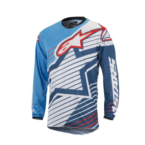 Tricouri MX-Enduro Alpinestars Tricou Racer Braap S7 Blue/White