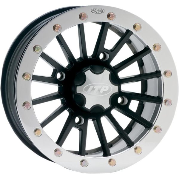 ITP JANTA SEVERE DUTY DUAL BEADLOCK ALUMINUM 14x7 BOLT PATTERN 4/156 OFFSET 5+2  MATTE BLACK/POLISHED RING