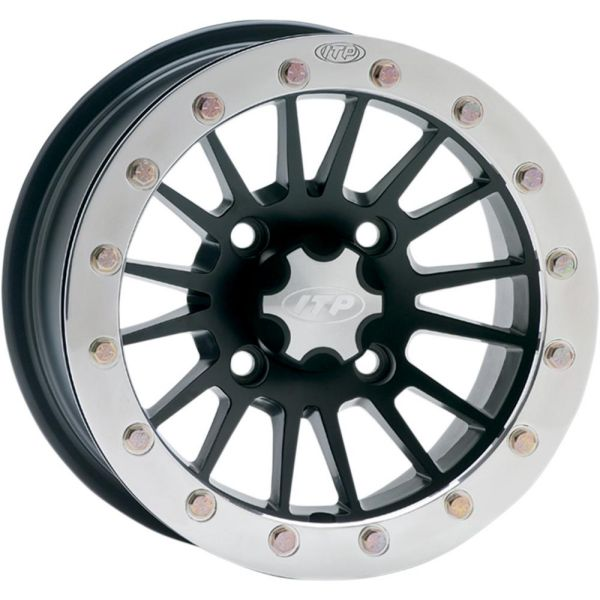 ITP JANTA SEVERE DUTY SINGLE BEADLOCK 14x7 BOLT PATTERN 4/110 OFFSET 5+2  MATTE BLACK/POLISHED RING