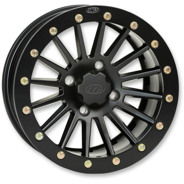 ITP JANTA SEVERE DUTY SINGLE BEADLOCK ALUMINUM 14x7 BOLT PATTERN 4/156 OFFSET 4+3 MATTE BLACK/ BLACK RING