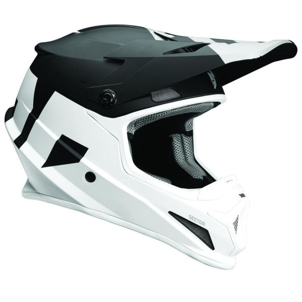 Casti MX-Enduro Thor Casca Sector Level Black/White Matte S8