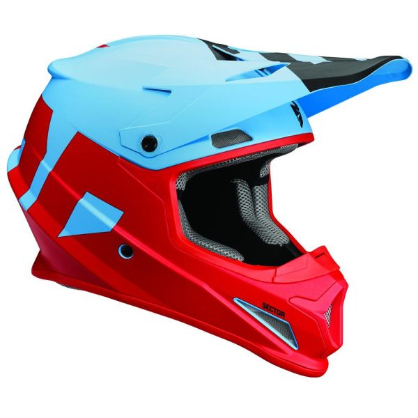 Casti MX-Enduro Thor Casca Sector Level Powder Blue/Red S8