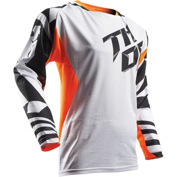 Tricouri MX-Enduro Thor LICHIDARE STOC Tricou S7 Fuse Air Dazz White/Orange